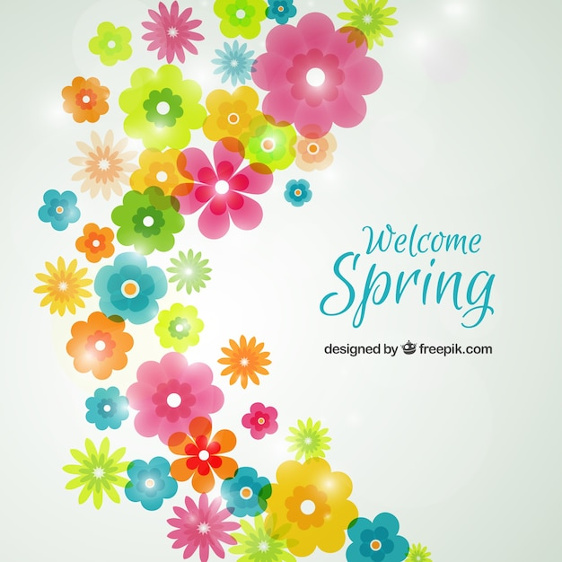 Spring Flowers Background Vector Free Download