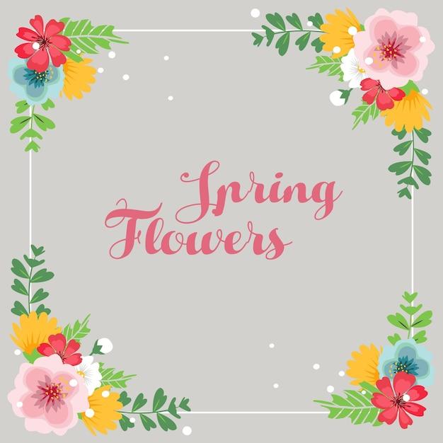 Spring Flowers Border Vector Premium Download