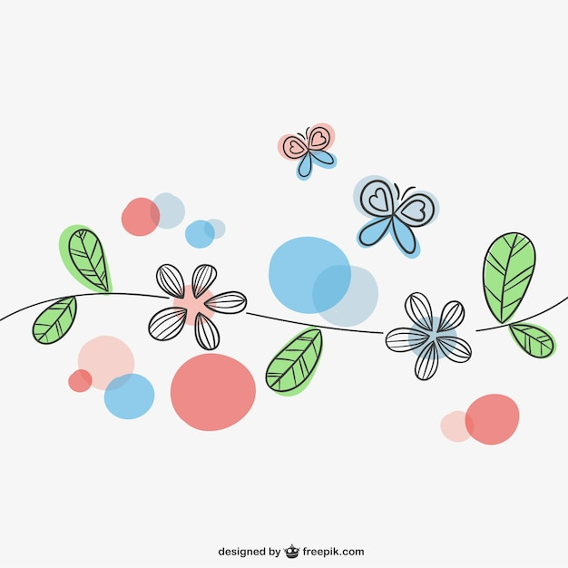Spring Flowers And Butterflies Vector Free Download