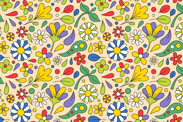 Spring flowers and leaves groovy floral pattern Free Vector