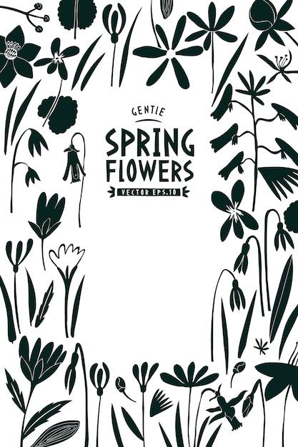 Spring flowers template. Premium Vector