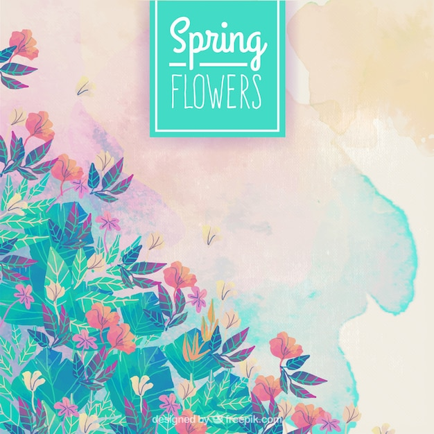 Spring flowers watercolor background Free Vector