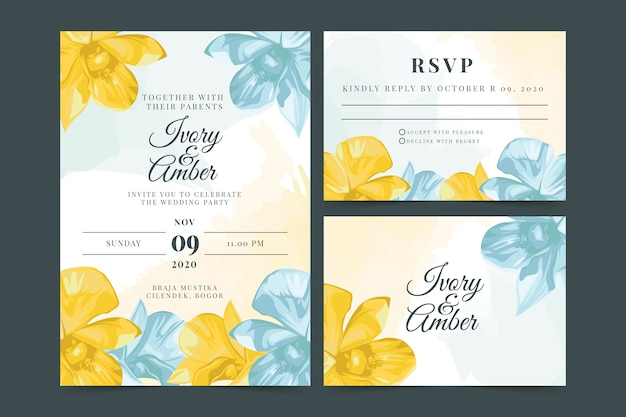 Spring flowers wedding stationery Free Vector