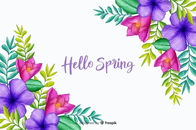 Spring flowers with greeting quote Free Vector