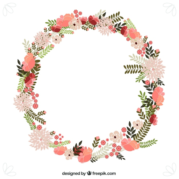 Spring Flowers Wreath Vector Free Download