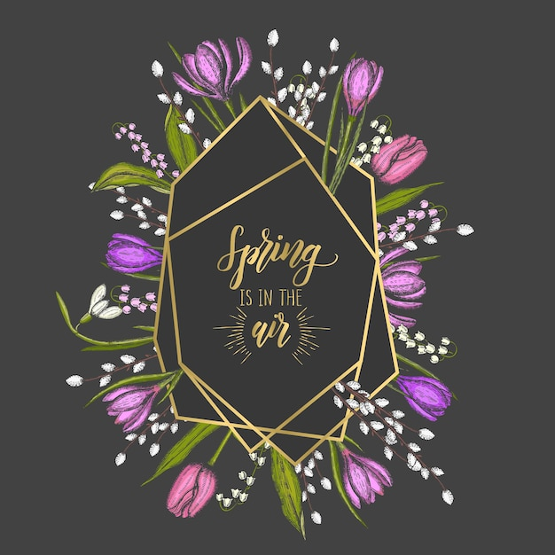Spring frame with golden geometric diamond shapes and hand drawn flowers Premium Vector