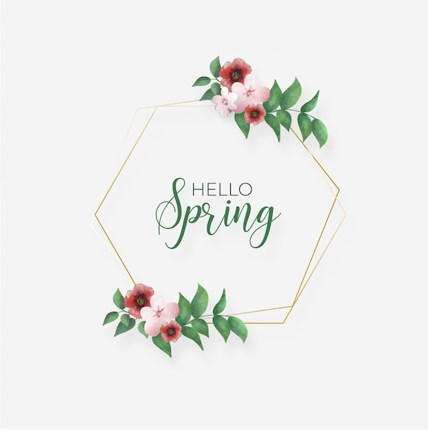 Spring frame with leaves and flowers Free Vector