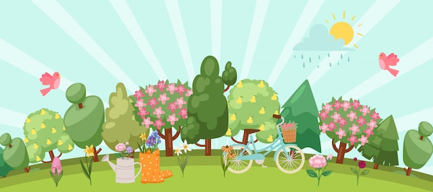 Spring garden easter concept with birds, blooming trees, grass, dandelions and daisies in gum boot and watering can, bike cartoon  illustration. Premium Vector