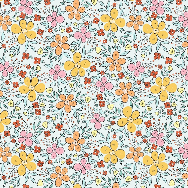Spring garden and flowers pattern Premium Vector