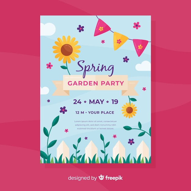 Spring garden invitation party flyer Free Vector