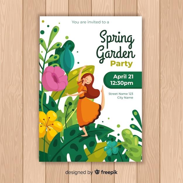 Spring garden party flyer Free Vector