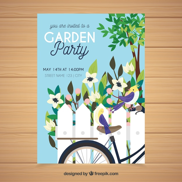 Spring garden party invitation in hand drawn style Free Vector