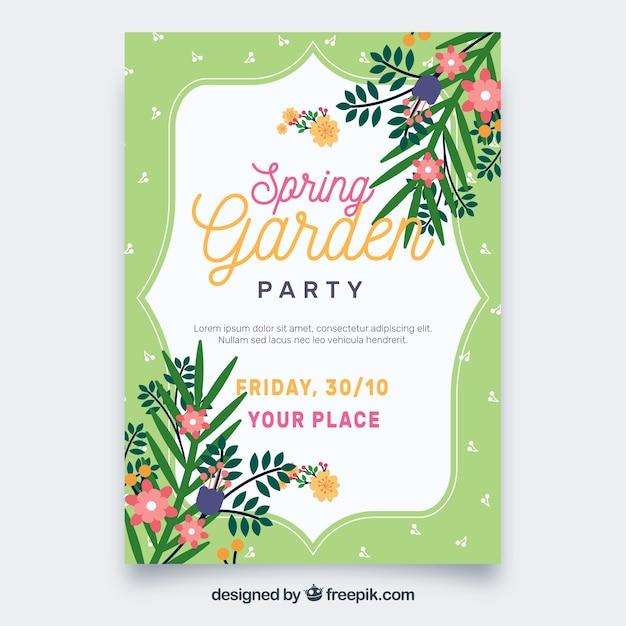 Spring garden party invitation vector free download spring garden party invitation free vector stopboris Images