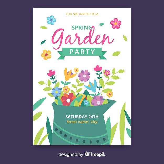 Spring garden party poster Free Vector