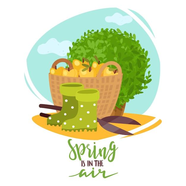 Весенние садовые растения надписи иллюстрации Premium векторы