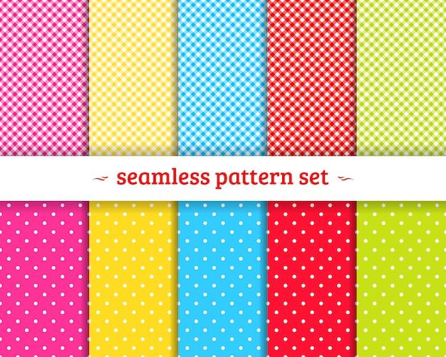 Spring geometric seamless patterns set vector Premium Vector