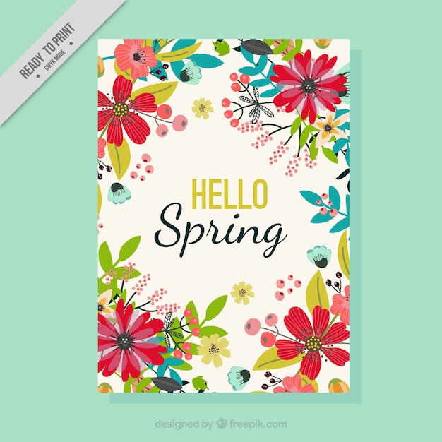 Spring greeting card with hand drawn flowers Free Vector