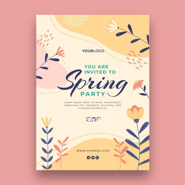 봄 인사말 카드 무료 벡터