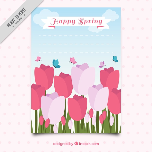 Spring greeting with tulips