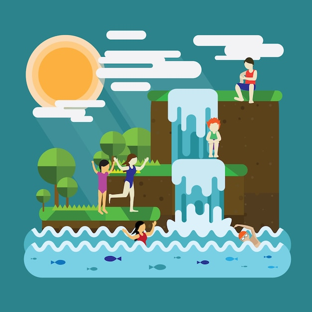 Spring holiday with swimming Premium Vector