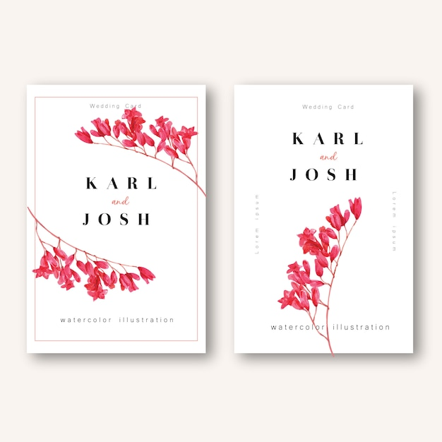 Spring invitation card with floral maple and leaves. freshness botanical,thanks card, mother's day flower Free Vector