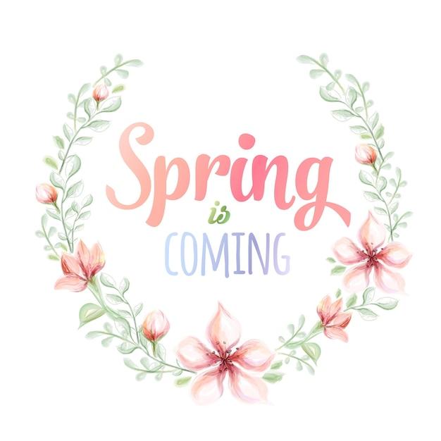 Приближается весна рисованной акварельной иллюстрацией. открытка с акварельным цветочным венком. Premium векторы