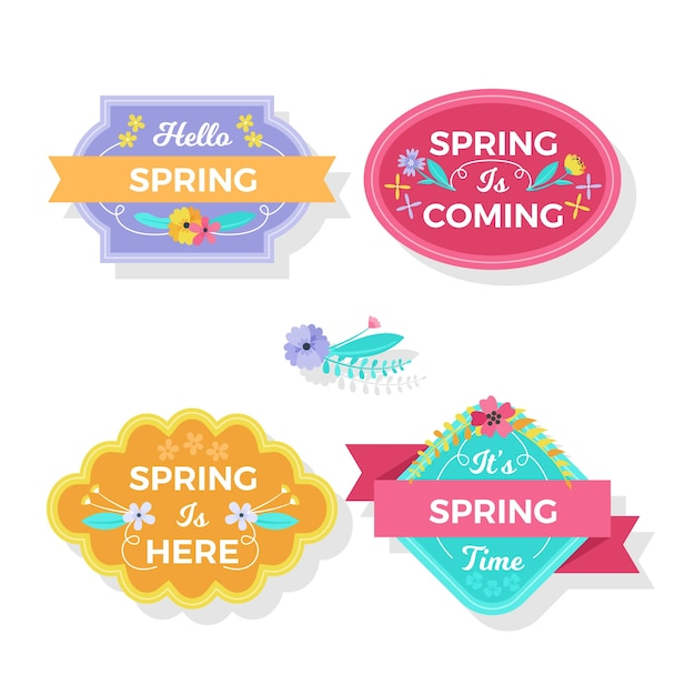Spring is here badges with ribbons Free Vector