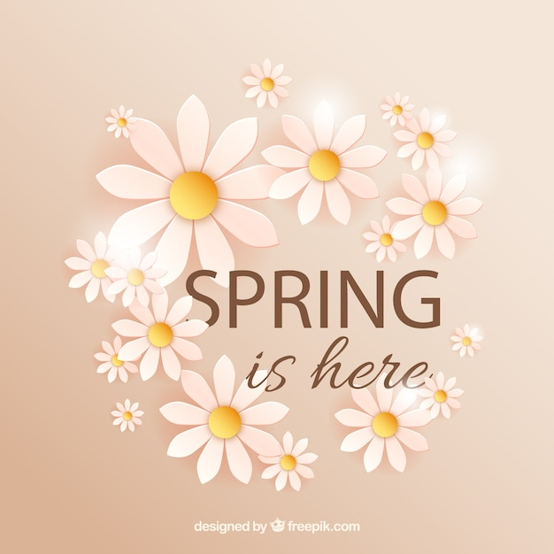 spring is here with daisies vector free download