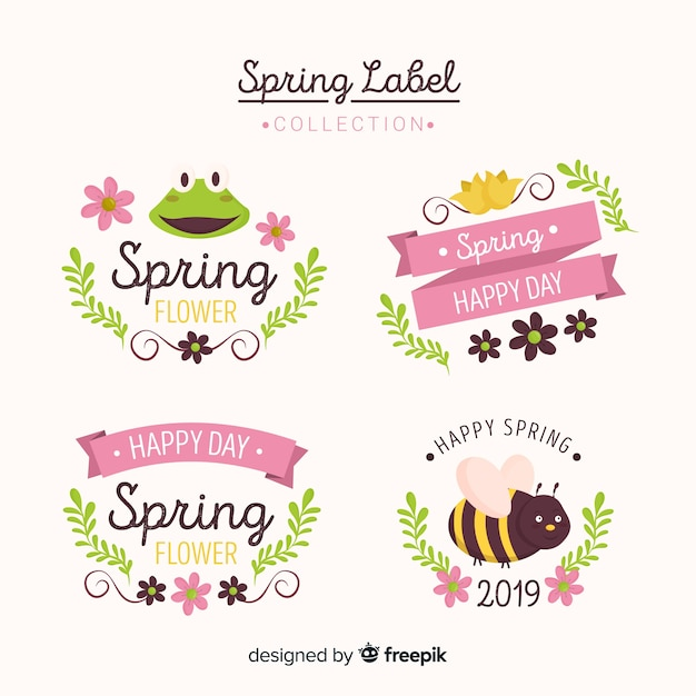 Spring label collection Free Vector