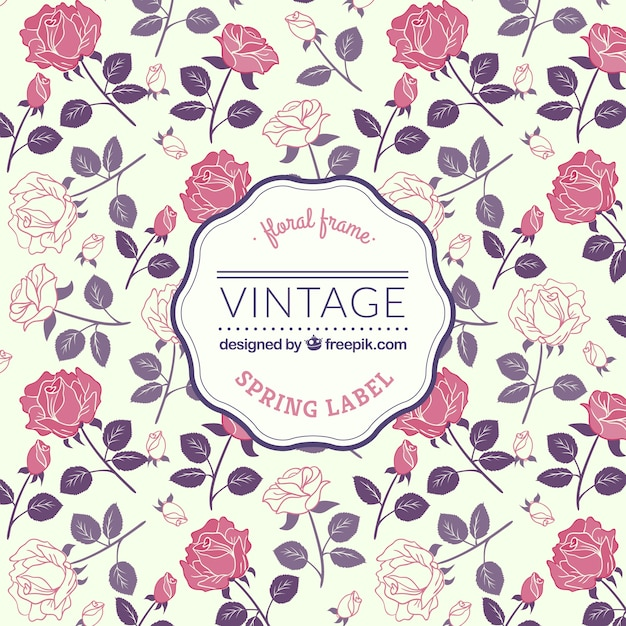Spring label in retro style Free Vector