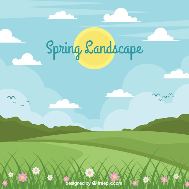 Spring landscape background in flat style Free Vector