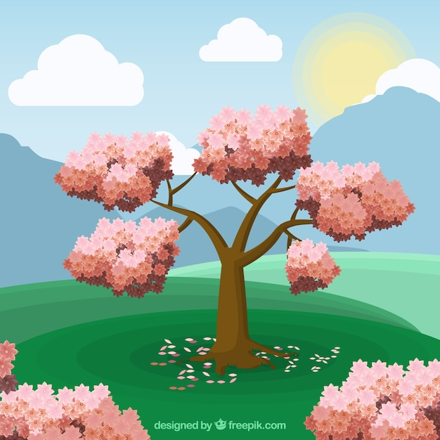 Spring landscape background in flat\ style