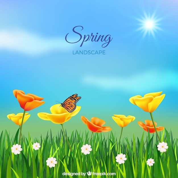 Spring Landscape Background In Realistic Style Vector Free Download