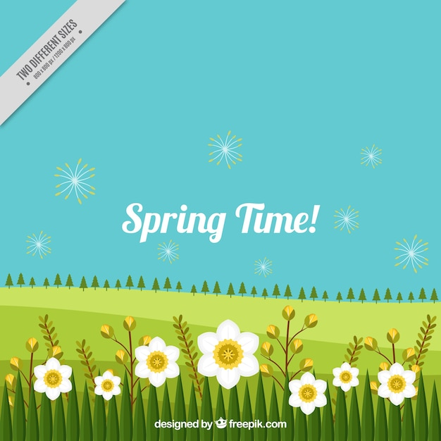 Spring Landscape Background With Flowers Vector Free Download