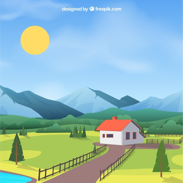 Spring landscape background with house Free Vector