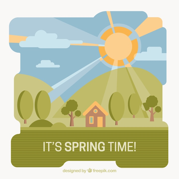Spring landscape background with little house\ in flat design