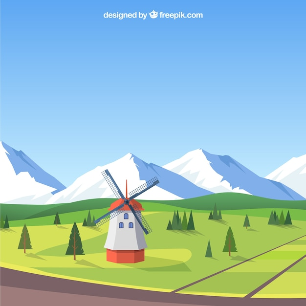 Spring landscape background with mill