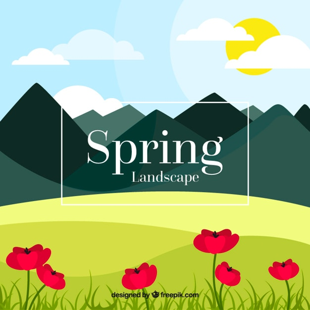 Spring landscape background with mountains and\ flowers