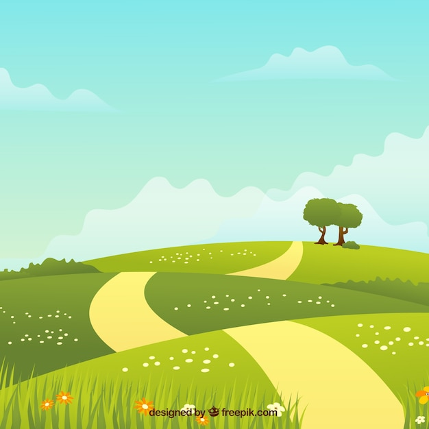 Spring landscape background with path Free Vector