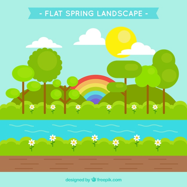 Spring landscape background with rainbow in\ flat design