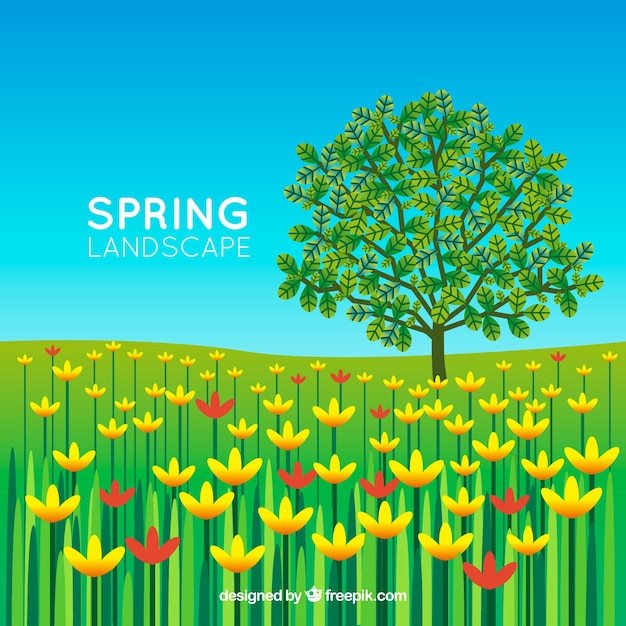 Spring landscape background with tree and\ flowers