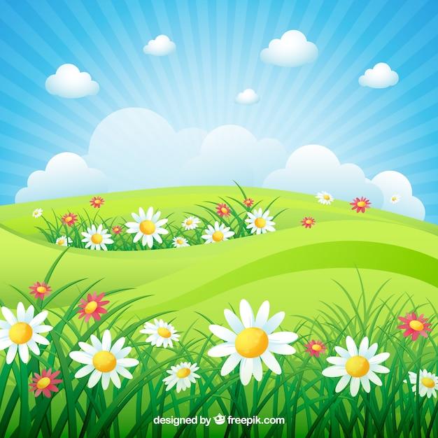 Spring landscape background Free Vector