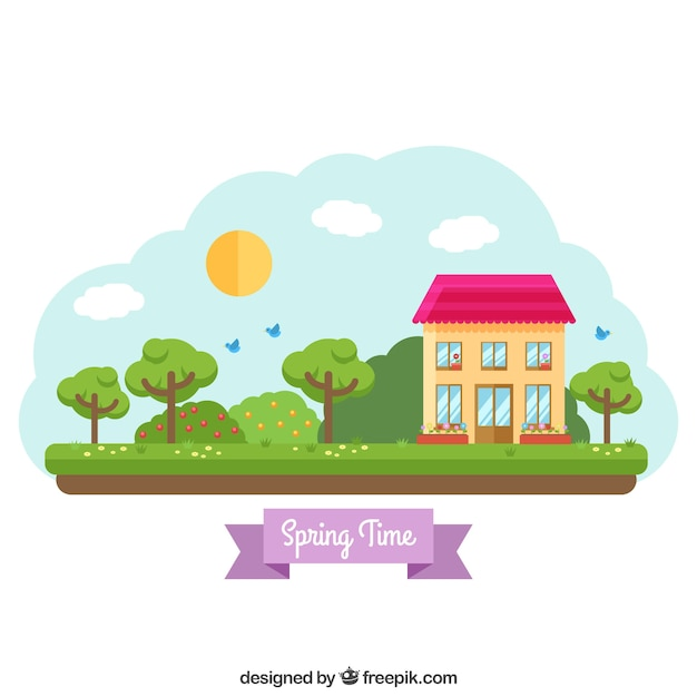 Spring landscape background Free Vector