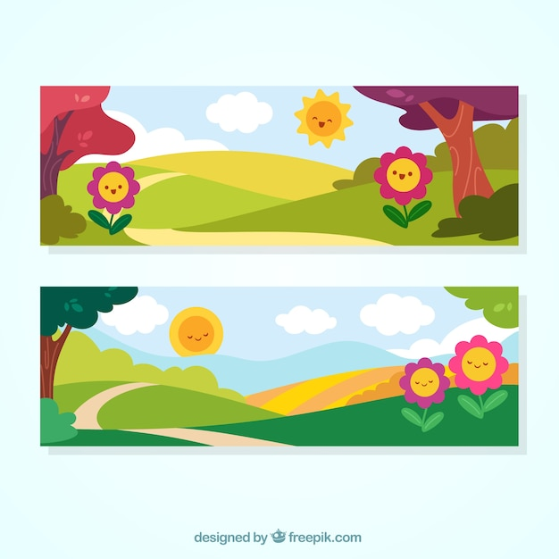 Spring landscape banners with nice\ flowers