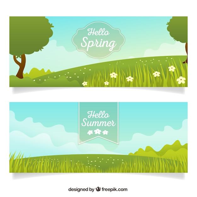 Spring landscape banners