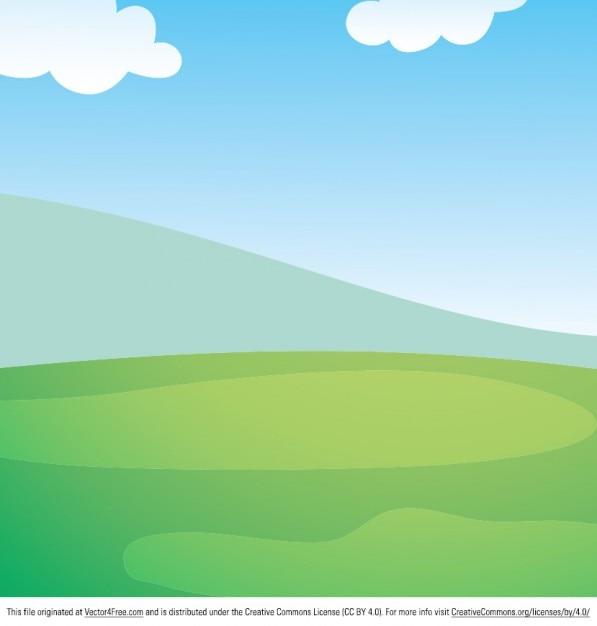 Spring landscape cartoon background