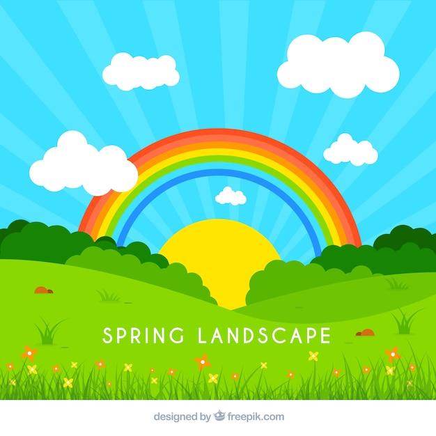 Landscape Illustration Vector Free: Spring Landscape Illustration Vector