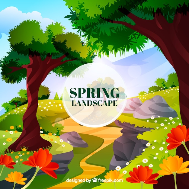 Spring landscape in realistic style
