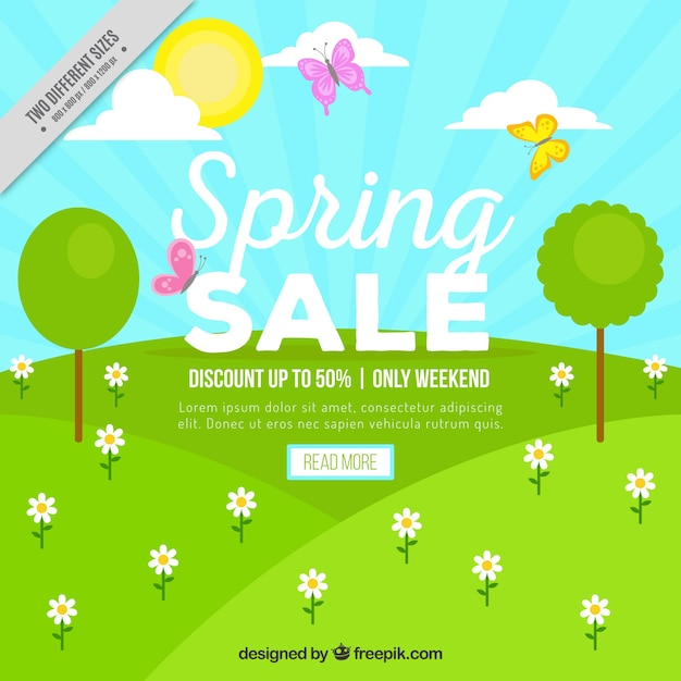 Spring landscape sale background