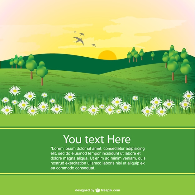 spring landscape template vector free download